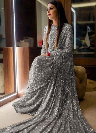 Grey Sequins Sparkling Georgette Embroidered Saree