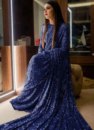 Navy Blue Sequin Georgette Embroidered Saree