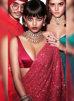 Adorable Red Georgette Base Sequin Work Party Wear Saree