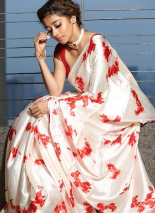 Elegant White Colored Satin Base Digital Printed Saree
