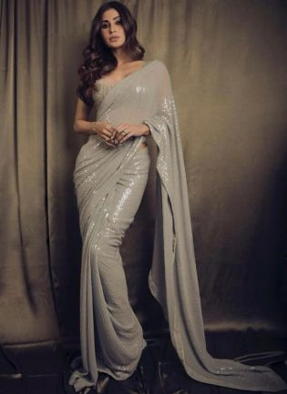 Charming Grey Color Sequins Work Base Bollywood Saree