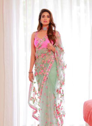 Charming Light Green Color Soft Net Base Bollywood Saree