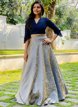 Navy Blue Color Jacquard Silk Base Party Wear Lehenga With Crop