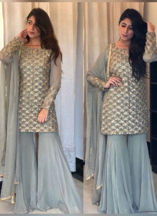 Splendid Cloudy Grey Georgette Festive Wear Designer Sharara Suit