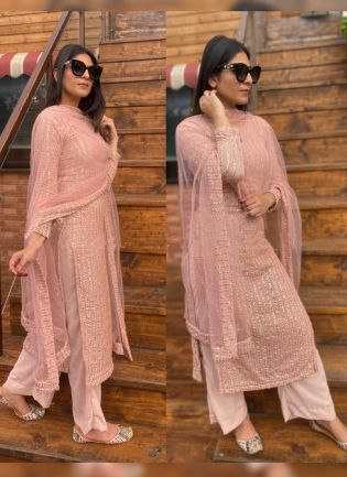 Remarkable Peach Pink Georgette Base Palazzo Salwar Suit