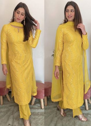 Phenomenal Light yellow Colored Palazzo Suit Decorated with Mirror