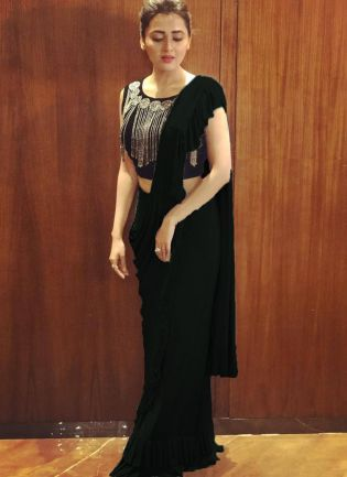 Impressive Black Colored Georgette Base Party Wear Ruffle Saree