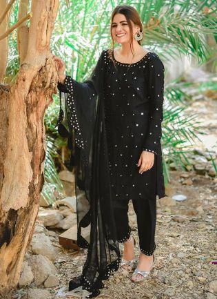 Magnificent Black Georgette Festive Wear Zari Work Pant Style Suit