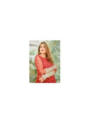 Spectacular Crimson Red Georgette Festive Wear Designer Stylish Gown