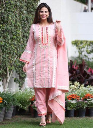 Stunning Baby Pink Silk Base Gota Work Pant Style Suit