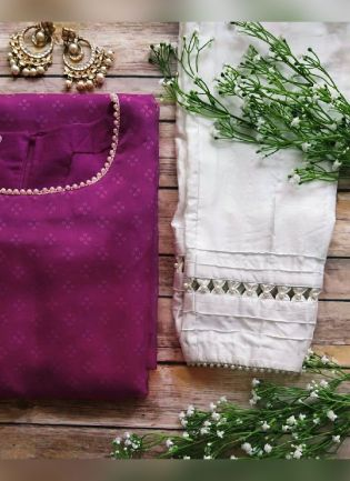Trendy Look Rani Pink Color Georgette Base Pant Style Salwar Suit