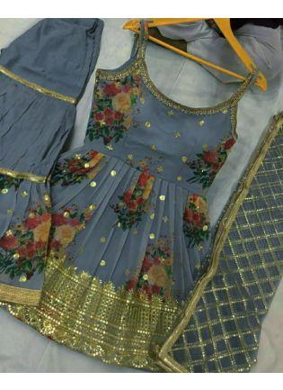 Enchanting Georgette Fabric Grey Color Zari And Sequins Work Sharara Salwar Suit