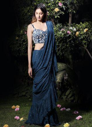 Emerald Blue Georgette Saree With Sequins Details