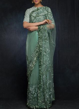 Glitzy Teal Green Color Soft Net With Sequins Base Saree
