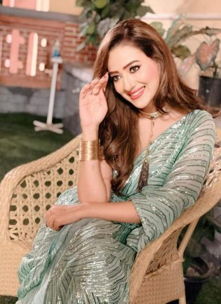 Glitzy Green Color Sequins Base Bollywood Saree