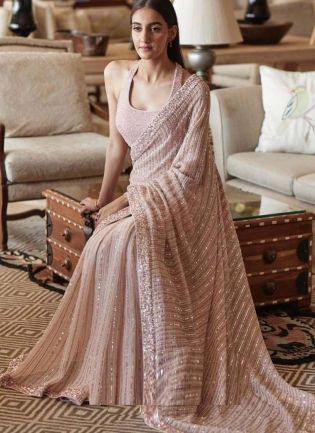 Gorgeous Sequined Embroidery Work Georgette Fabric Pink Color Saree