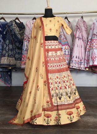 Splendid Light Yellow Silk Base Designer Flared Lehenga Choli