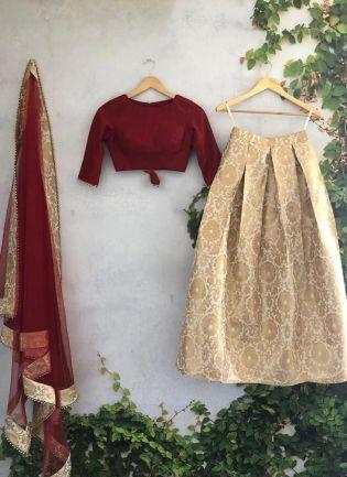 Majestic Beige Silk Base Wedding Special Lehenga Choli