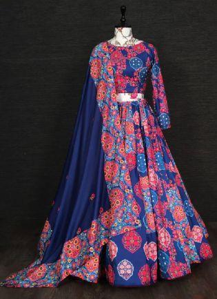 Gorgeous Look Blue Color Silk Base Digital Flower Print Designer Lehenga Choli