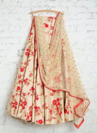 Desirable Beige Color Satin Base Wedding Wear Heavy Embroidered Lehenga Choli
