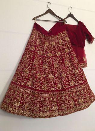 Wonderful Red Color Velvet Base Embroidery Heavy Work Wedding Wear Lehenga Choli