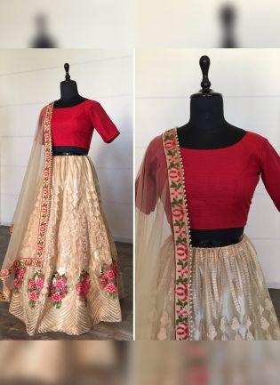 Sparkling Beige Soft Net Moti And Resham Work Lehenga Choli