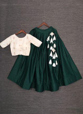 Bottle Green Color Soft Cotton Base Lehenga Choli With Contrast Blouse