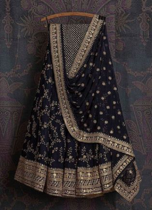 Glamorous Blue Color Georgette Base With Thread and Embroidery Work Lehenga Choli