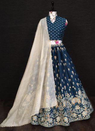 Impressive Navy Blue Color Silk Base Lehenga Choli