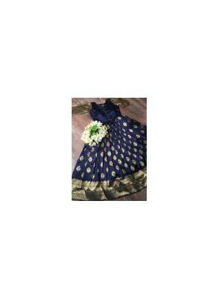 Navy Silk Waving Beautiful Designer Gown For Sangeet