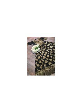 Tempting Black Silk Base Festive Wear Designer Gown