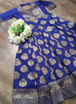 Fantastic Royal Blue Silk Base Festive Wear Designer Gown
