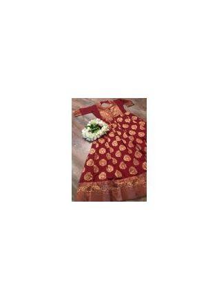 Mesmerizing Maroon Silk Base Festive Wear Trendy Gown