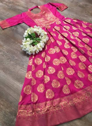 Sparkling Pink Silk Base Ceremonial Wear Designer Gown