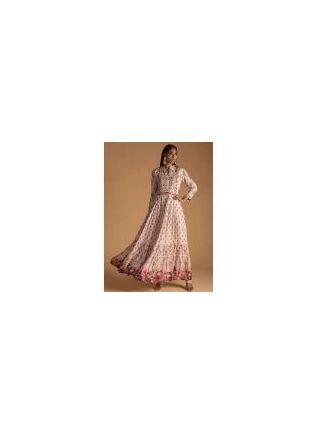 New Style Pink Color Maslin Silk Base Designer Gown