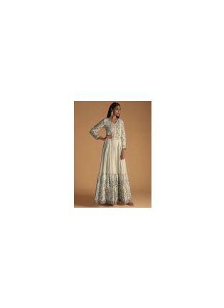 White Color Maslin Silk Base Digital Print Gown