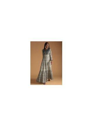 Grey Color Maslin Silk Base Digital Print Gown