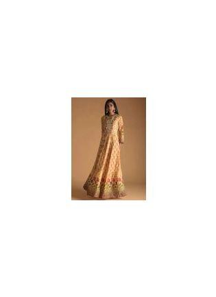 Orange Color Maslin Silk Base Digital Print Gown