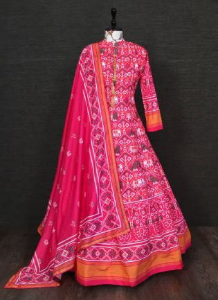Trendy Pink Color Silk Base Printed Designer Anarkali Gown With Heavy Dupatta