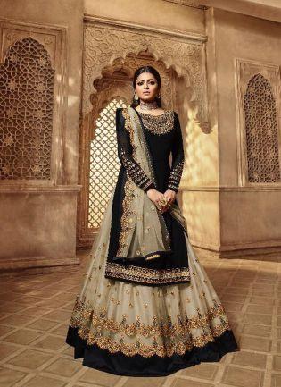 Fabulous Black Color Designer Wedding Wear Salwar Kameez Suit