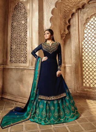 Navy Blue Color Designer Wedding Wear Salwar Kameez Suit