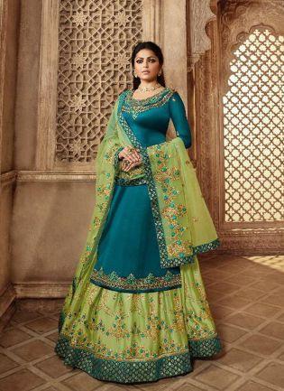 Remarkable Turquoise Blue Color Designer Wedding Wear Salwar Kameez Suit