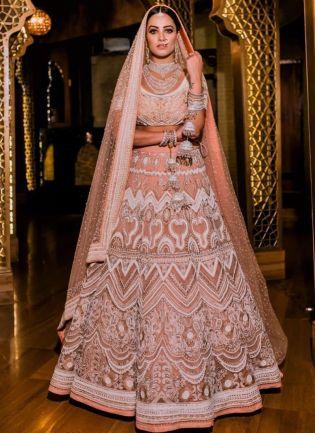 Peach Sequin Resham A-Line Bridal Bollywood Lehenga Choli