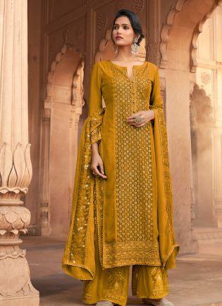 Delightful Mustard Yellow Color  Georgette Base Wedding Wear Palazzo Suit