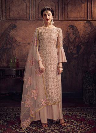 Wonderful Beige Georgette Base Stone And Resham Work Salwar Suit