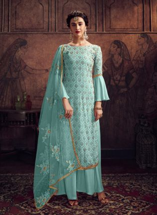 Charming Light Blue Georgette Stone And Resham Work Salwar Suit