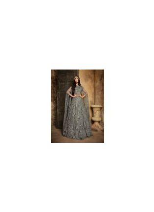 Grey Color Party Wear Designer Soft Net Base Salwar Kameez Suit