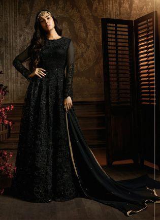Charming Black Soft Net Festive Wear Designer Sequin Anarkali Suit
