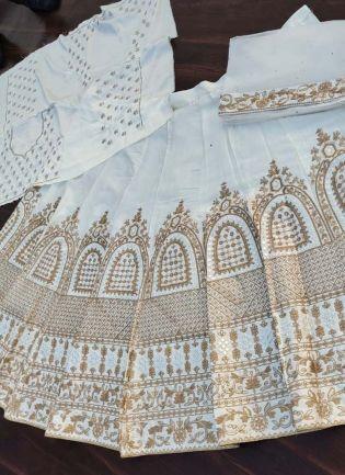 White Color Silk Fabric Sequins Work Flared Lehenga Choli With Dupatta