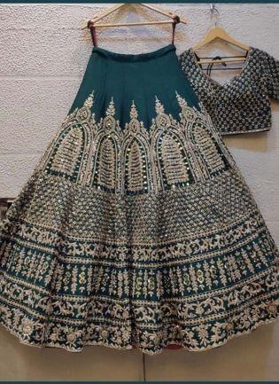 Green Color Silk Fabric Sequined Work Flared Lehenga Choli